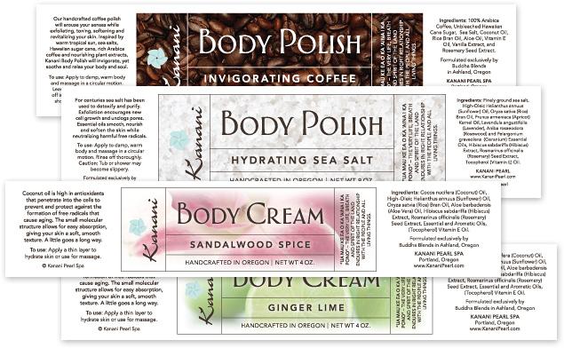 Kanani Pearl Spa Body Polish and Cream Labels | DBD | David Bailey