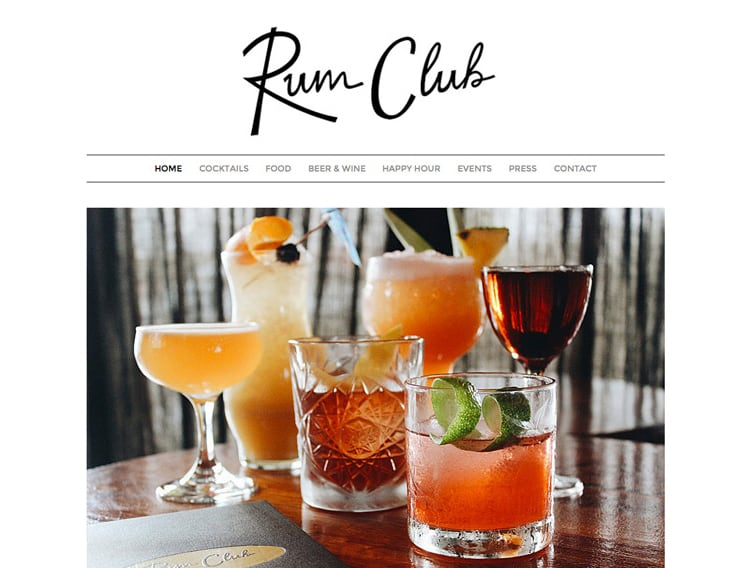 Rum Club Bar Wordpress Website