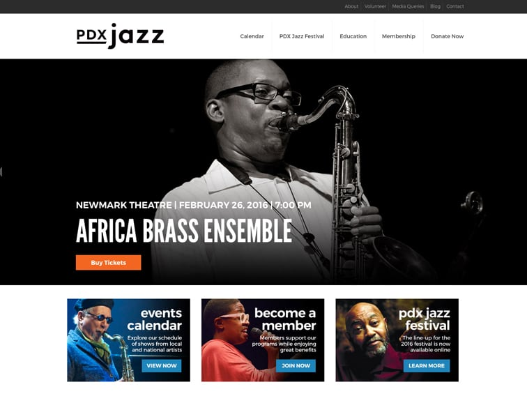 PDX Jazz Wordpress Website