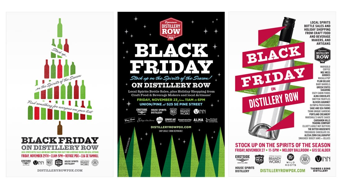 Distillery Row Black Friday Poster Designs