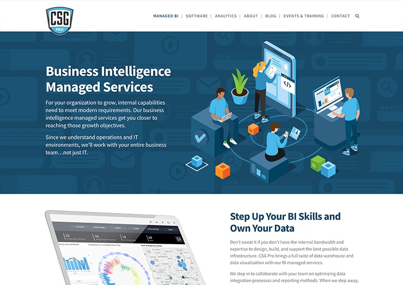 CSG Pro Landing Page Design Managed BI