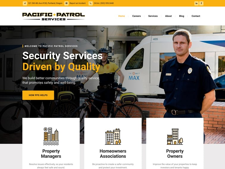 Pacific Patrol Services Wordpress Website